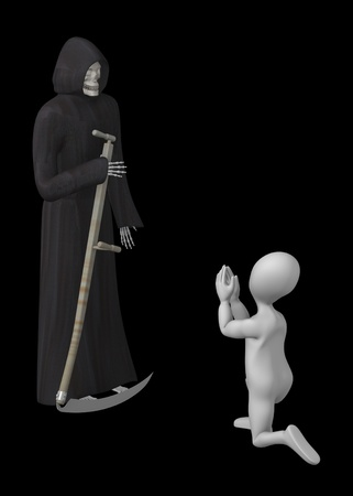 3d render of cartoon character with grim reaper Stock Photo - 12949083
