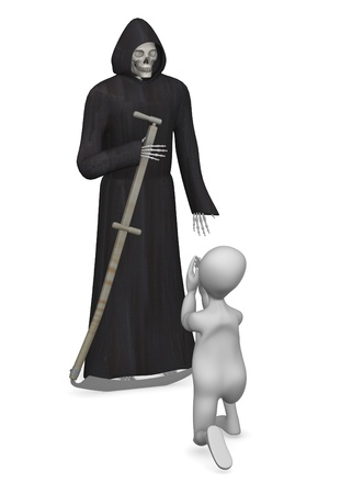 3d render of cartoon character with grim reaper Stock Photo - 12957443