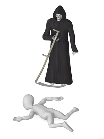 3d render of cartoon character with grim reaper Stock Photo - 12959412