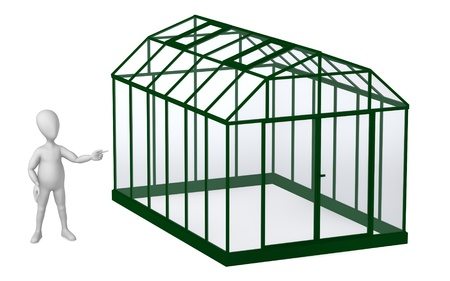 stockie: 3d render of cartoon character with greenhouse Stock Photo