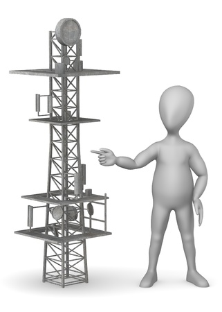 mast cell: 3d render of cartoon character with gsm tower