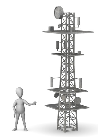 telephone mast: 3d render of cartoon character with gsm tower