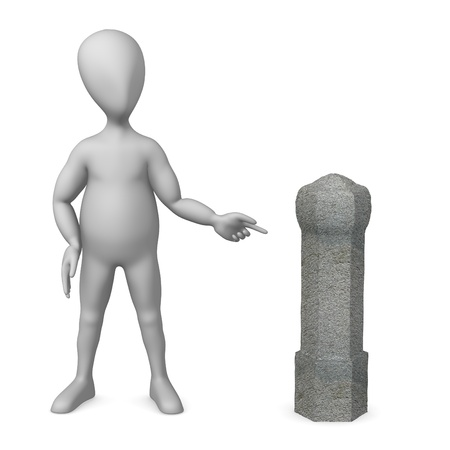 bollard: 3d render of cartoon character with guard stone Stock Photo