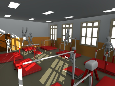 excercise: 3d render of cartoon character training