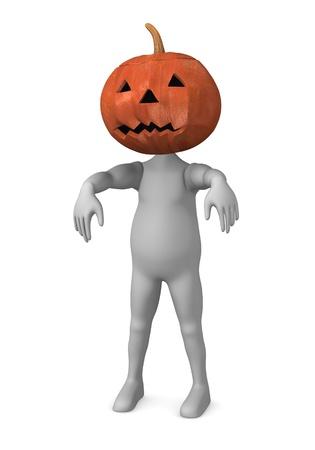 3d render of cartoon character with haloween pumpkin photo