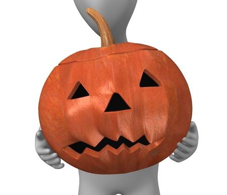 3d render of cartoon character with haloween pumpkin Stock Photo - 12985216