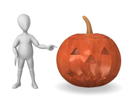 figourine: 3d render of cartoon character with haloween pumpkin Stock Photo