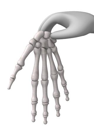 figourine: 3d render of cartoon character with han bones