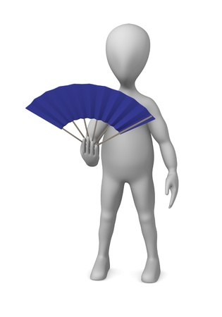 stockie: 3d render of cartoon character with hand fan