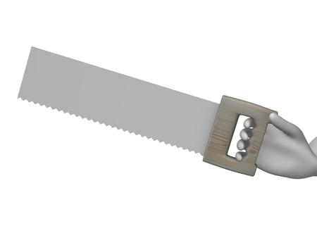 serrucho: 3d rinden de personaje de dibujos animados con sierra de mano