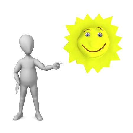 stockie: 3d render of cartoon character with happy sun Stock Photo