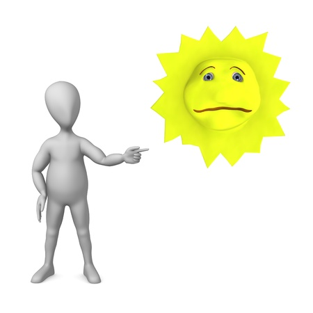 3d render of cartoon character with sad sun