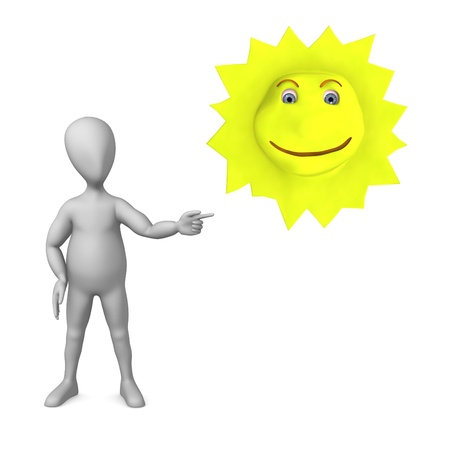 figourine: 3d render of cartoon character with happy sun Stock Photo