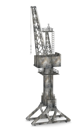 3d render of cartoon character with harbor crane photo