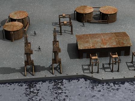 3d render of cartoon characters in harbor photo