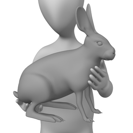 3d render of cartoon character with hare photo