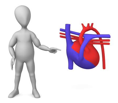 3d render of cartoon character with heart scheme photo