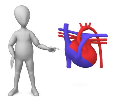 figourine: 3d render of cartoon character with heart scheme