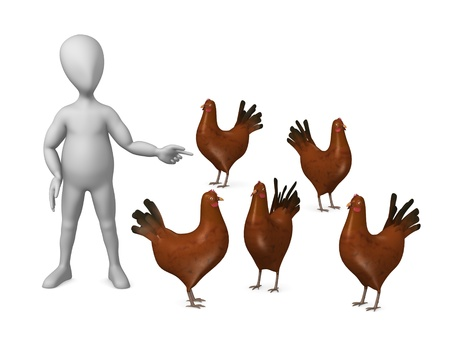 3d render of cartoon character with hen photo