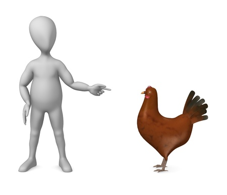 3d render of cartoon character with hen photo