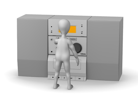 soundsystem: 3d render of cartoon character with hifi Stock Photo
