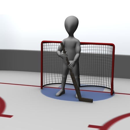 3d render of cartoon character on hockey field   photo