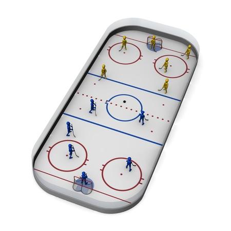 hockey sobre cesped: 3d rinden de personaje de dibujos animados en el campo de hockey