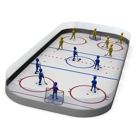 3d render of cartoon character on hockey field 版權商用圖片
