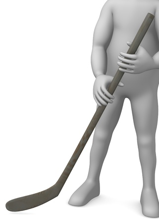 3d render of cartoon character with hockey stick   photo