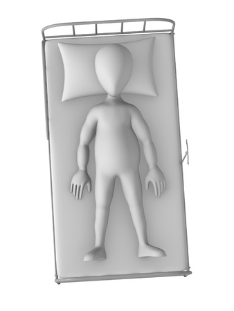 3d render of cartoon character on hospital bed