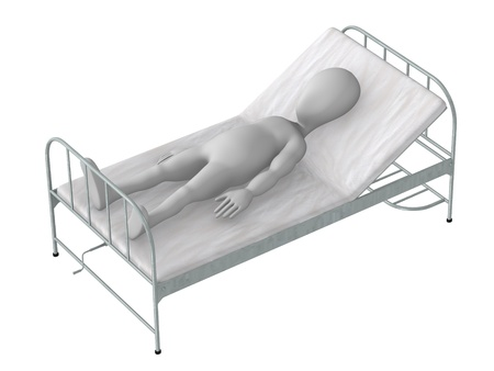 hospital bed: 3d render of cartoon character on hospital bed