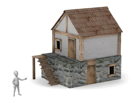 3d render of cartoon character with house photo