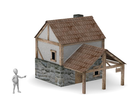 figourine: 3d render of cartoon character with house