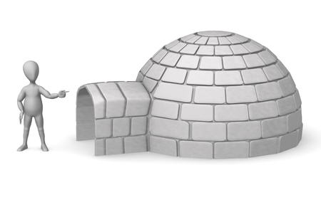 3d render of cartoon character with igloo photo