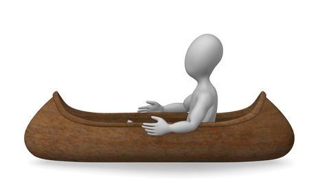 3d render of cartoon character with indian canoe  photo