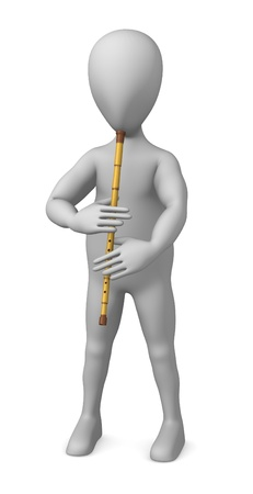 figourine: 3d render of cartoon character with indian flute  Stock Photo