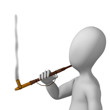 3d render of cartoon character with indian pipe photo