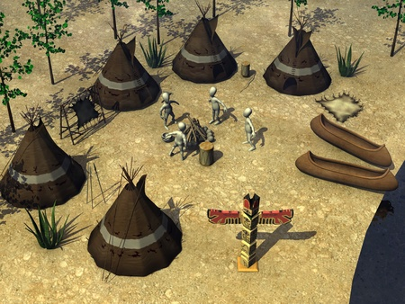 3d render of cartoon character with indian village photo