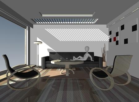 3d render of cartoon character relaxing in interior photo