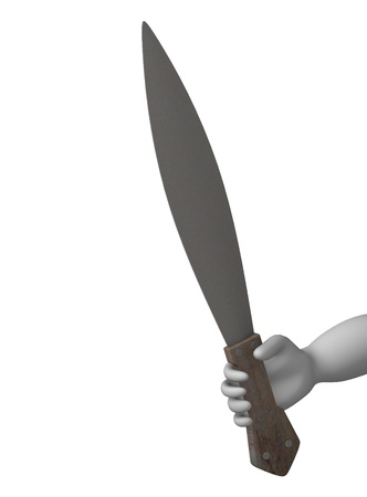 3d render of cartoon character with indian weapon photo