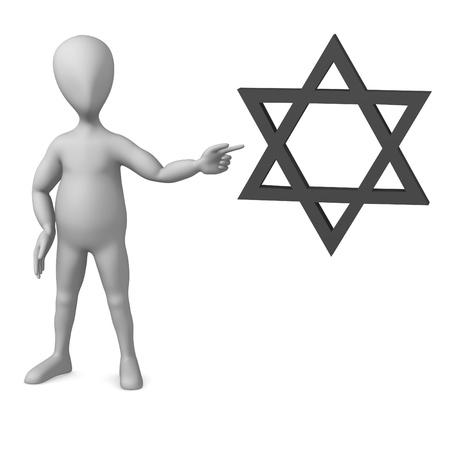 etoile juive: Rendu 3D de personnage de dessin anim� avec une �toile juive