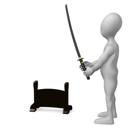 3d render of cartoon character with katana photo