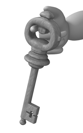 3d render of cartoon character with key Stock Photo - 12950563