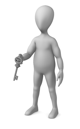 3d render of cartoon character with key Stock Photo - 12945492