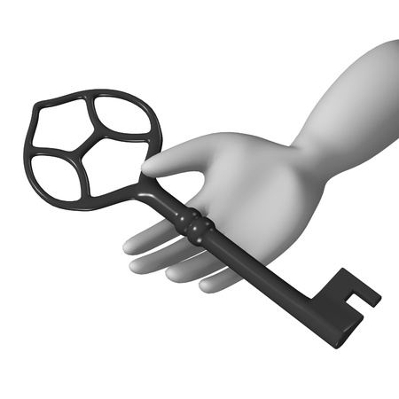 rusty padlock: 3d render of cartoon character with key Stock Photo
