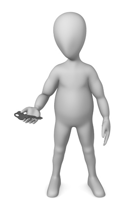 3d render of cartoon character with key photo
