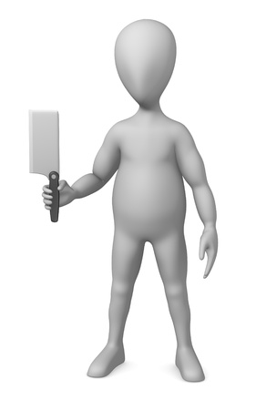 3d render of cartoon character with knife photo