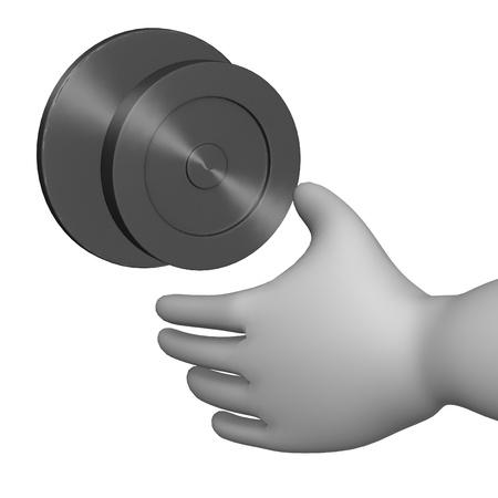 3d render of cartoon character with door knob Stock Photo - 12985252