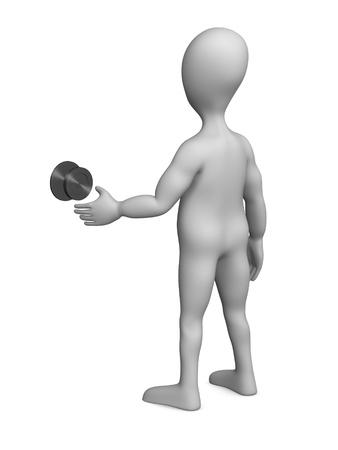 figourine: 3d render of cartoon character with door knob Stock Photo