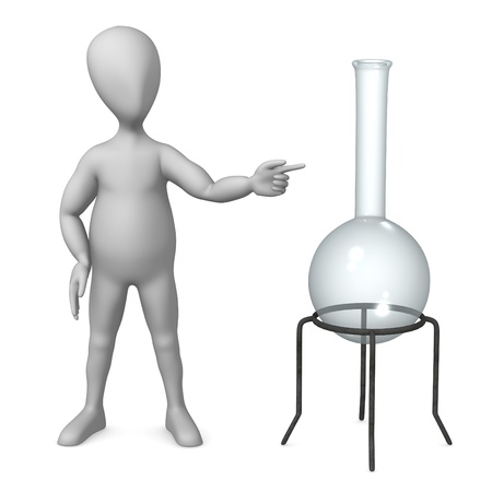 phial: 3d render of cartoon character with lab flask